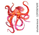 red and pink octopus with... | Shutterstock . vector #1295587699