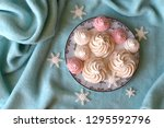 top view of pale pink and white ... | Shutterstock . vector #1295592796