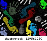 abstract vector hand and foot... | Shutterstock .eps vector #129561230