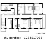 set of groundfloor blueprints | Shutterstock . vector #1295617033