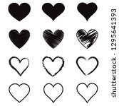 heart hand drawn icons set.... | Shutterstock .eps vector #1295641393