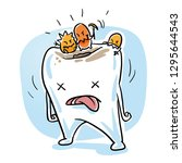 cute sick cartoon tooth with... | Shutterstock .eps vector #1295644543