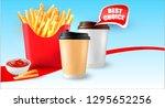 3d.vector potatoes french fries.... | Shutterstock .eps vector #1295652256