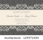 damask wedding invitation or... | Shutterstock .eps vector #129571454