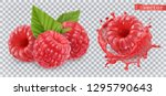 raspberry. sweet fruit. 3d... | Shutterstock .eps vector #1295790643