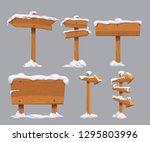 wooden directional signs set...   Shutterstock .eps vector #1295803996