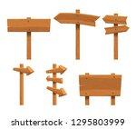 wooden signs set | Shutterstock .eps vector #1295803999