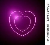 neon hearts background 3d... | Shutterstock . vector #1295819923