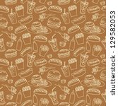 fast food seamless background | Shutterstock .eps vector #129582053