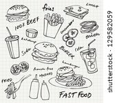 fast food hamburger doodle set | Shutterstock .eps vector #129582059