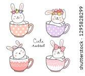 Stock vector draw vector illustration happy rabbit with flower on head sleeping in cup of tea doodle cartoon 1295828299