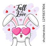 cute cartoon white rabbit... | Shutterstock .eps vector #1295837806