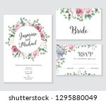 floral wedding vector frames.... | Shutterstock .eps vector #1295880049
