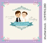 happy wedding invitation... | Shutterstock .eps vector #1295901280