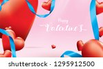 valentine 3d colorful red... | Shutterstock .eps vector #1295912500
