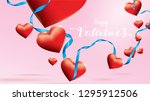 valentine 3d colorful red... | Shutterstock .eps vector #1295912506