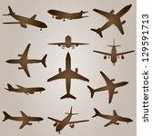 a vintage old set of brown... | Shutterstock . vector #129591713