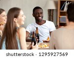 smiling african american man... | Shutterstock . vector #1295927569