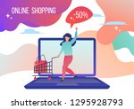 woman shopping in the online... | Shutterstock .eps vector #1295928793