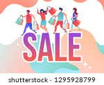 people make purchases in the... | Shutterstock .eps vector #1295928799