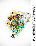 blue stethoscope on pile of... | Shutterstock . vector #129595019