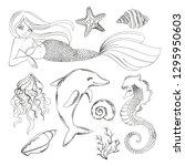 sea life monochrome cartoon...   Shutterstock .eps vector #1295950603