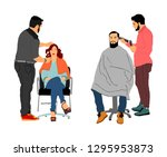 female hairdresser with client... | Shutterstock .eps vector #1295953873