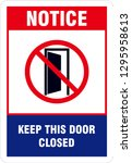 keep door closed sign | Shutterstock .eps vector #1295958613
