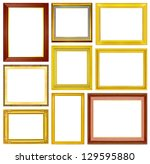 the antique gold frame on the... | Shutterstock . vector #129595880