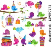 vector set of cute party themed ... | Shutterstock .eps vector #129597173
