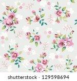 retro vintage flower seamless... | Shutterstock .eps vector #129598694