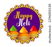 happy holi celebration with... | Shutterstock .eps vector #1296003130
