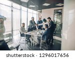 multiracial team of business... | Shutterstock . vector #1296017656