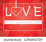 happy valentines day romantic... | Shutterstock .eps vector #1296042739