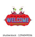 indian truck art  welcome  ... | Shutterstock .eps vector #1296049036