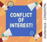 text sign showing conflict of... | Shutterstock . vector #1296054796