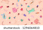 seamless baby peach colored... | Shutterstock .eps vector #1296064810