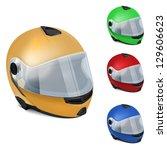motorcycle helmet with visor | Shutterstock .eps vector #129606623