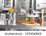 spaghetti pasta in container... | Shutterstock . vector #129606863