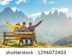 active three friends travel... | Shutterstock . vector #1296072403