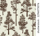seamless pattern with old trees.... | Shutterstock .eps vector #1296075076