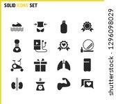 activity icons set with fridge  ...