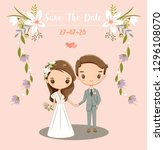 cute bride and groom for... | Shutterstock .eps vector #1296108070