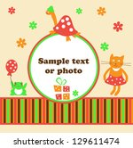 frame for a photo with cheerful ... | Shutterstock .eps vector #129611474