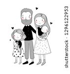 a happy family. cute cartoon... | Shutterstock .eps vector #1296122953