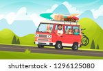 happy family road trip. mom ... | Shutterstock .eps vector #1296125080