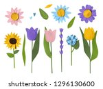 paper collage  flowers | Shutterstock . vector #1296130600