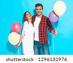 portrait of smiling beautiful... | Shutterstock . vector #1296132976