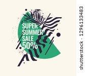 super summer sale. abstract... | Shutterstock .eps vector #1296133483