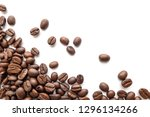 roasted coffee beans isolated... | Shutterstock . vector #1296134266
